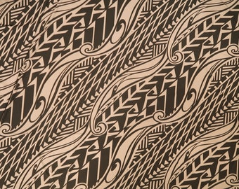 Hawaiian Polynesian Print Stretch Knit Jersey Fabric   Beige