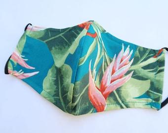 100% Cotton Floral Hawaiian Print Face Mask   Green