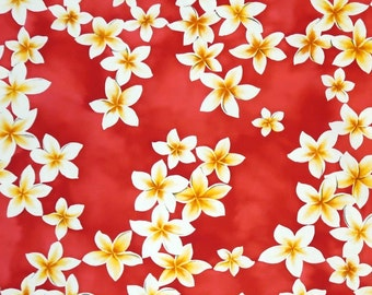 Cotton Hawaiian Fabric 1/4yd -Plumeria floral print - Pink RC C002P