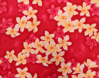 2 Shades Plumeria All Over Hawaiian Fabric -Red C004P