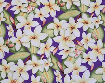 Plumeria Hawaiian 100% Cotton Fabric / Mask making-Purple C005PU
