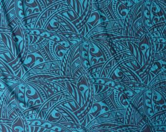Polynesian Tribal Print Hawaiian Fabric - Tapa - Rayon   Teal Green