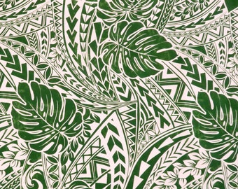 Monstera Polynesian Tribal Mix Prints -Green PC123G