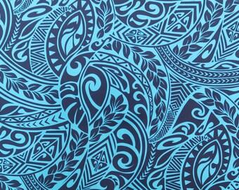 Polynesian Tribal Print - Blue PC115B