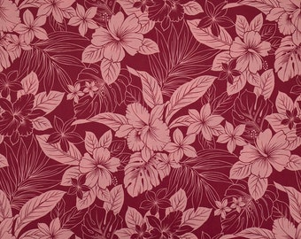 Tropical Leaf & Flower Hawaiian Print 100% Cotton Fabric - Burgandy C091E