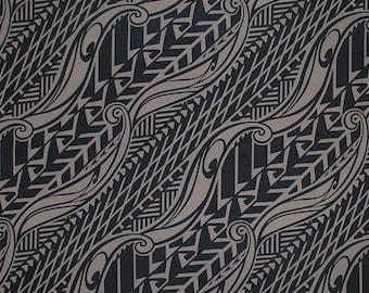 Stretch Knit Jersey Hawaiian Fabric Tapa Print   Taupe Brown