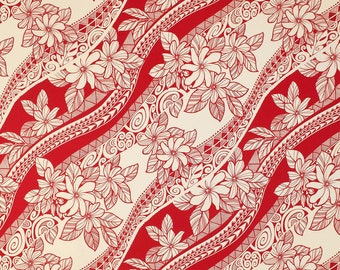 Polynesian Tribal Flower 100% Cotton Fabric-Red C033R