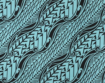 Stretch Knit Jersey Hawaiian Fabric Tapa Print   Blue