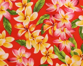 Plumeria Party Prints Fabric-Red C009R