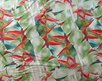 Hawaiian Floral Print Knit Jersey Fabric for Dress Making   Green Heliconia