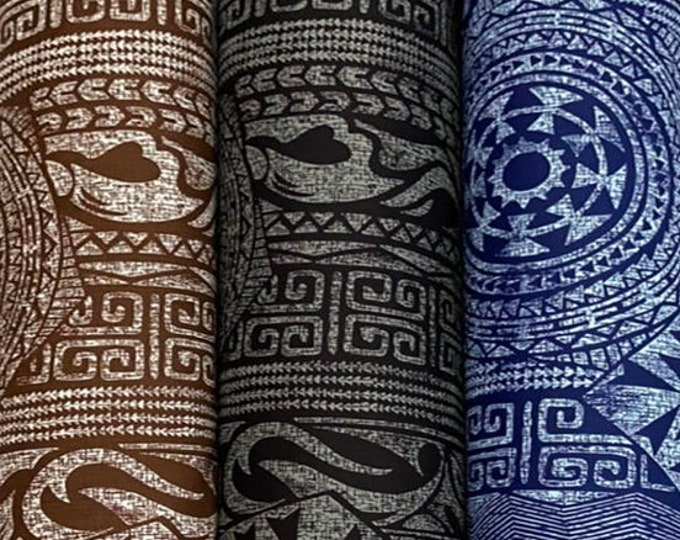 Featured listing image: NEW Tribal Tapa Print Poly Cotton- Brown/Black/Blue-PC232