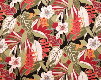 Heliconia and Hibiscus 100% Cotton Hawaiian Fabric -Dark Red C048R