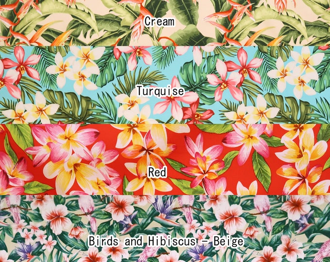 Featured listing image: 2yd Set : 1/2yd cut each Hibiscus Lover 100% Cotton Hawaiian Fabric-04a