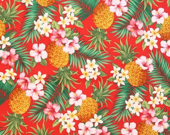 Pineapple & Tropical Flower Hawaiian Fabric | Red C024R