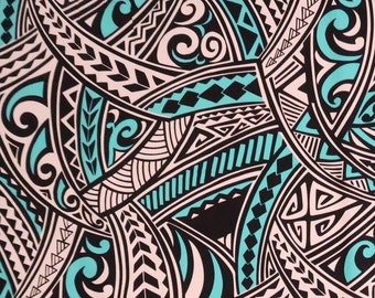 Polynesian Tribal Print 100% Cotton Fabric / - Turquoise and Black C129T