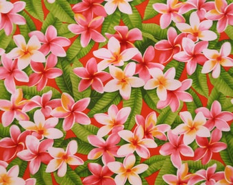 Plumeria Tropical Flower Hawaiian Fabrics | Red C007P