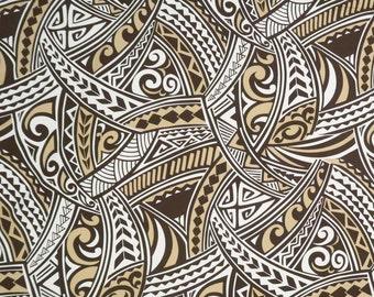 Polynesian Tribal Print 100% Cotton Fabric / - Beige & Brown C128BG