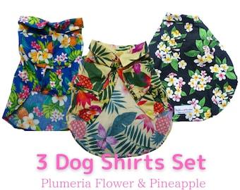3 Hand-made Dog Shirts Discount Set | Hawaiian Flower Variety Set