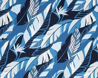 Leafy Blue Hawaiian Print 100% Cotton Fabric - Blue C094B