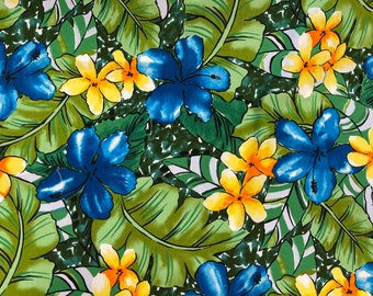 Watercolor Blue Hibiscus with Yellow Plumeria Floral Hawaiian Fabric | 100% Cotton