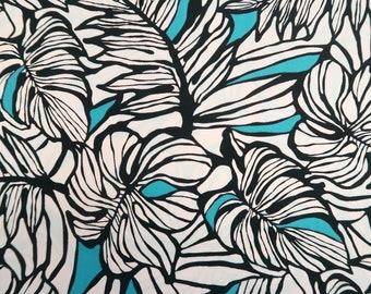 Modern Leaf Print Cotton Fabric - Teal & Black C138TW