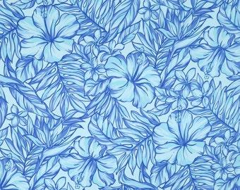 Blue Modern Hibiscus Cotton Hawaiian Fabric - Dress Sewing, Shirt Making - Blue C126B