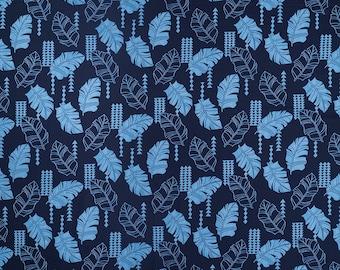 Navy Leaf and Tapa Hawaiian Fabric