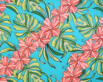 Hibiscus Print Hawaiian Fabric-Sky Blue PC085B