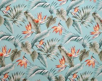 Fresh Birds of Paradise Hawaiian Fabric - Clothes Sewing, Interior Decoration, Sewing Fabric - Aqua C029T