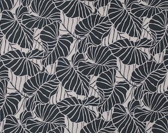 Hawaiian Leaf Print Stretch Jersey Knit Fabric | Taupe Brown