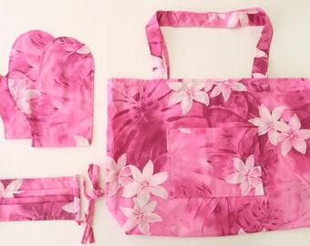 Hand-made Hawaiian Floral Print Shopping Bag & Mitten Face Mask Gift Set - Gift forHer Idea -Pink Plumeria MS186