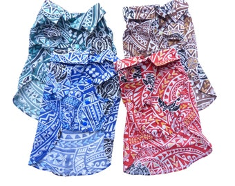Shirts for Dog |Polynesian Tapa and Turtle Hawaiian Print | Red, Blue, Green, Brown
