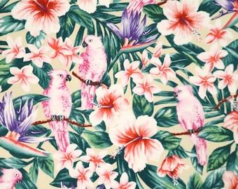 Hibiscus and Bird Prints 100% Cotton Fabric -Beige C148BG