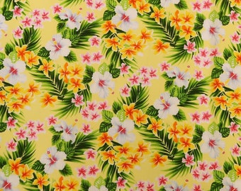 Small Hibiscus & Plumeria Small Hawaiian Print | Yellow C259Y