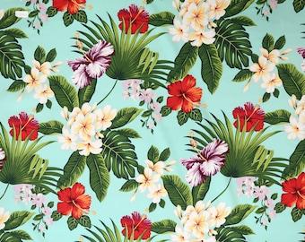 Hibiscus/Plumeria 100% Cotton Hawaiian Fabric -Aqua C030T