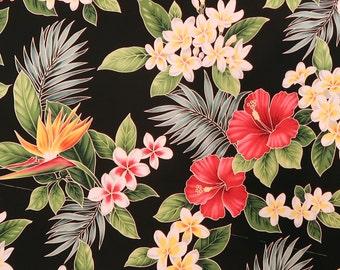 Hibiscus & Plumeria Hawaiian Fabric -Black Cotton Fabric -C112BK