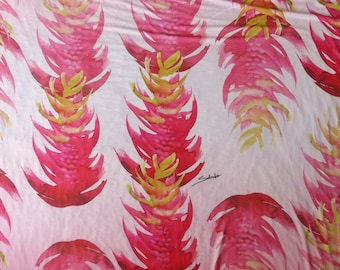 Hawaiian Floral Print Stretch Fabric for Dress Sewing | Pink Heliconia