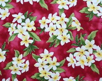 Plumeria Bouquet Print 100% Cotton Hawaiian Fabric - P006R