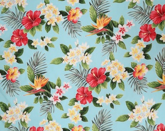 Paradise Hibiscus & Plumeria Hawaiian Fabric - Sky Blue C111T