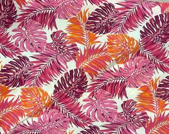 Large Pink Palm Leaf Print Fabric C261P