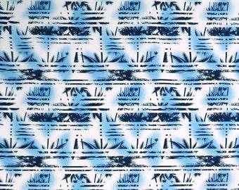 Palm Tree Border Abstract Print 100% Cotton Fabric -White/Blue C149B