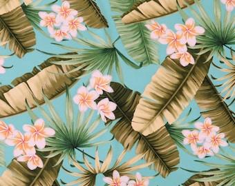 Plumeria Rayon Hawaiian Fabric - Turquoise R104T