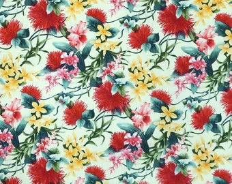 Red and Yellow Flowers -Cream C220C