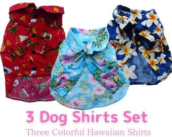 3 Different Color Dog Shirts Set | Hawaiian Print Discount Variety Set