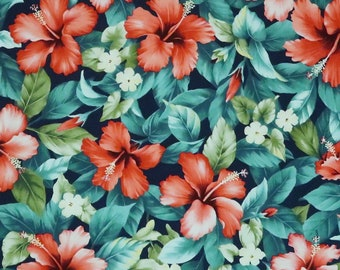 Red Hibiscus Garden - Floral Print Fabric for Sewing -Navy C216N
