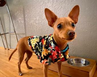 Floral Print Dog's Shirts | Ohia Hawaiian Flower | Black