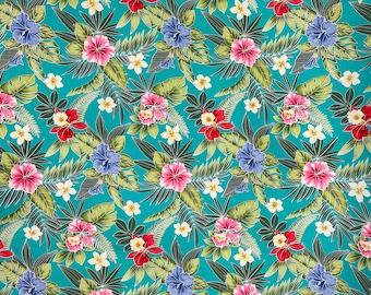 Green Hibiscus Floral Hawaiian Fabric   100% Cotton Green C263G