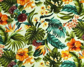 Tropical Flower Mix Hawaiian Fabric | Cream C226C