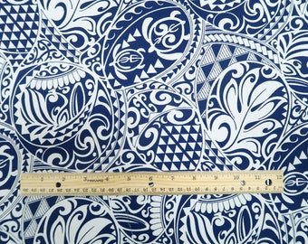 Polynesian Tribal Tapa Turtle Print 100%  Cotton - Black and Navy C228BBL