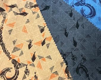 Fish Hook Hawaiian Shirt Fabric - Blue/Grey/Orange C252BGO